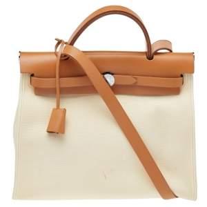 Hermes Beige/Tan Canvas and Leather Herbag Zip 31 Bag