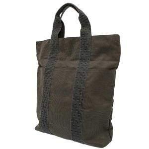 Hermes Grey Canvas Fabric Herline Cabas MM Tote Bag