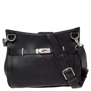 Hermès Noir Taurillon Clemence Leather Palladium Plated Jypsiere 34 Bag
