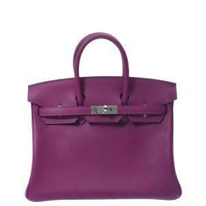 Hermes Purple Swift Leather Palladium Hardware Birkin 25 Bag