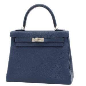 Hermes Navy Blue Togo Leather Palladium Hardware Kelly 25 Bag