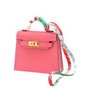 Hermes Pink/Rose Leather Tadelact Twilly Lipstick Kelly Bag