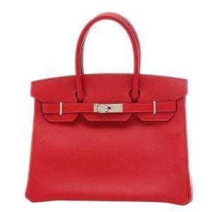 Hermes Red Epsom Leather Palladium Hardware Birkin 30 Bag