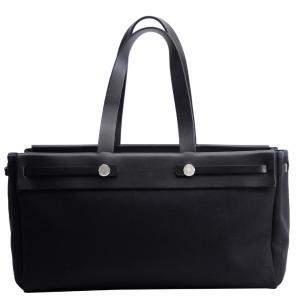 Hermes Black Canvas Cabas GM Herbag Tote Bag