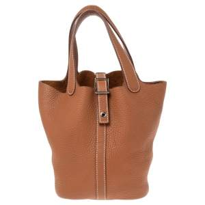 Hermes Gold Taurillon Clemence Leather Picotin Lock PM Bag