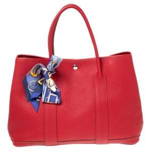 Hermes Rouge Piment Negonda Leather Garden Party 36 Bag