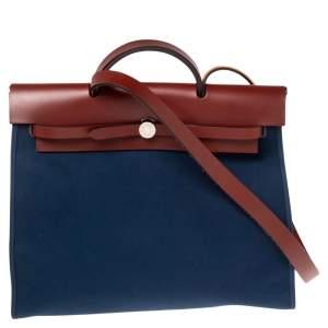 Hermes Bleu Marine/Rouge H Canvas and Leather Herbag Zip 39 Bag