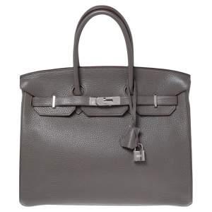 Hermes Etain Taurillon Clemence Leather Palladium Plated Birkin 35 Bag
