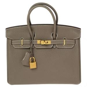 Hermes Etoupe Togo Leather Gold Plated Birkin 25 Bag
