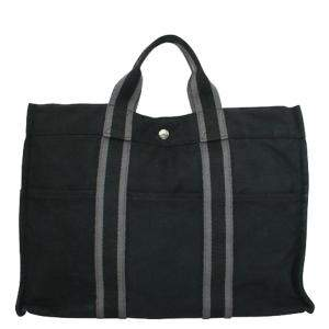 Hermes Black Canvas Fabric Fourre Tout MM Tote Bag