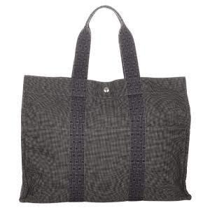 Hermes Grey Canvas Fabric Herline GM Tote Bag