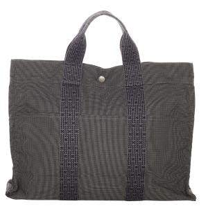 Hermes Grey Canvas Fabric Fourre Tout MM Tote Bag