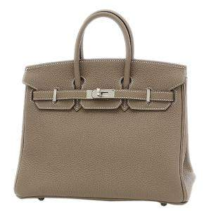 Hermes Grey Togo Leather Palladium Hardware Birkin 25 Bag