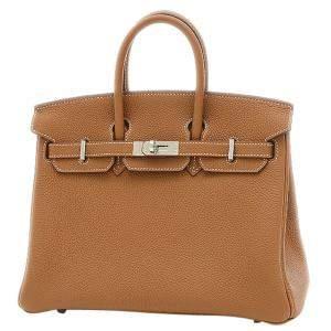 Hermes Brown Togo Leather Palladium Hardware Birkin 25 Bag