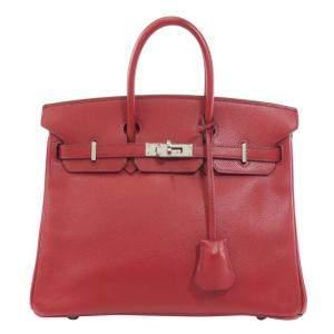 Hermes Red Epsom Leather Palladium Hardware Birkin 25 Bag