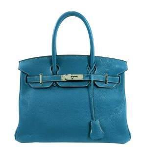 Hermes Blue Togo Leather Palladium Hardware Birkin 30 Bag