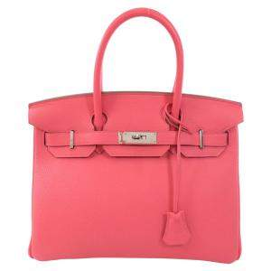 Hermes Pink Clemence Leather Palladium Hardware Birkin 30 Bag