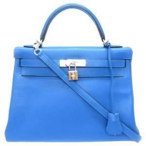 Hermes Blue Calf Leather Palladium Hardware Kelly Retourne 32 Bag