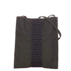 Hermes Grey Canvas Fabric Herline Shoulder Bag