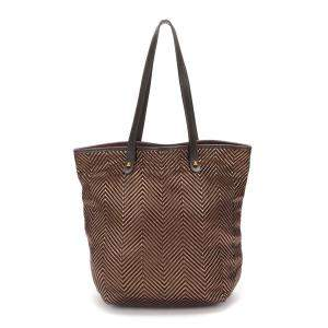 Hermes Brown Canvas Leather Tote Bag