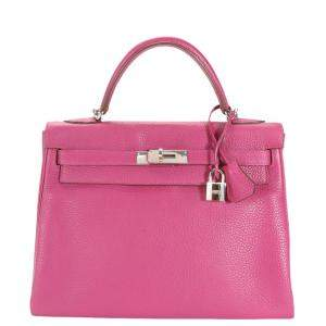 Hermes Pink Clemence Leather Palladium Hardware Retourne Kelly 32 Bag