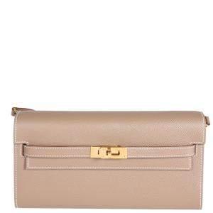 Hermes Beige/Epsom Leather Kelly To Go Wallet Bag
