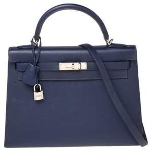 Hermes Blue Saphir Epsom Leather Palladium Finish Kelly Sellier 32 Bag