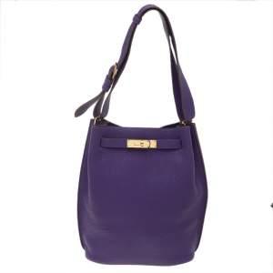 Hermes Ultraviolet Togo Leather So Kelly 22 Bag