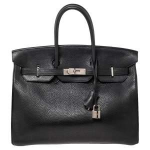 Hermes Noir Taurillon Clemence Leather Palladium Plated Birkin 35 Bag