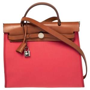 Hermes Bougainvillea/Fauve Canvas and Leather Herbag Zip 31 Bag
