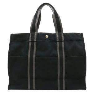 Hermes Black/Grey Canvas Fourre Tout GM Tote Bag
