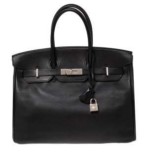 Hermes Noir Evergrain Leather Palladium Plated Birkin 35 Bag