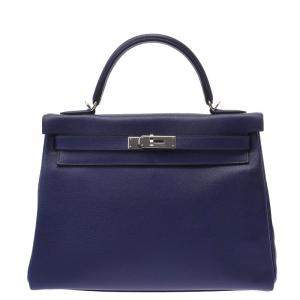 Hermes Blue Evercolor Leather Palladium Hardware Kelly 32 Bag