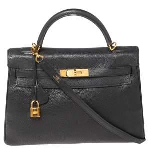 Hermes Noir Togo Leather Gold Plated Kelly Retourne 32 Bag