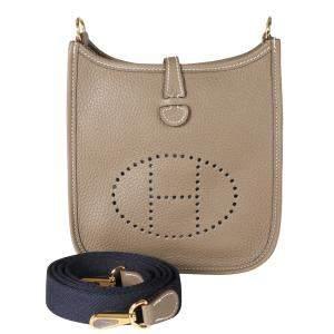 Hermes Etoupe Clemence Leather Evelyne TPM Shoulder Bag