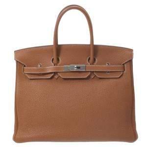 Hermes Brown Togo Leather Palladium Hardware Birkin 35 Bag