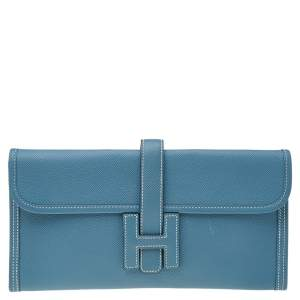 Hermés Bleu Jean Epsom Leather Elan Jige 29 Clutch
