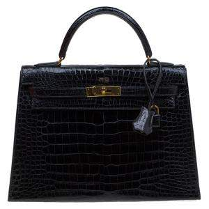 Hermes Black Crocodile Vintage Gold Hardware Kelly Sellier 32 Bag