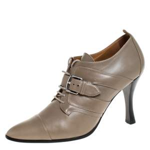 Hermes Grey Leather Lace Up Pointed Toe Ankle Boots Size 38.5