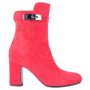 Hermes Red Suede Leather Joueuse Ankle Boots Size 35
