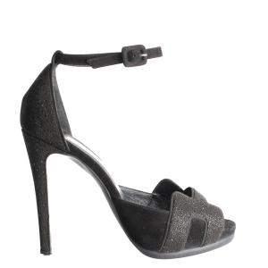 Hermes Black Suede Glitter Premiere H Sandals Size 38.5