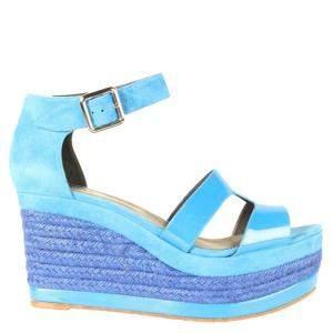 Hermes Blue Ilana Leather Canvas Platform Wedges Size 39