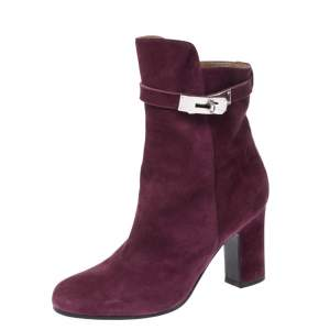Hermes Magenta Suede Joueuse Round Toe Ankle Boots Size 37