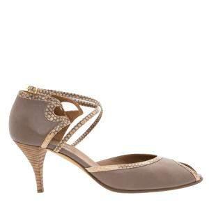 Hermes Brown Leather Snakeskin  Sandals