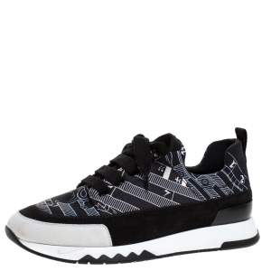 Hermes Black/White Abstract Pattern Neoprene And Suede Slip On Sneakers Size 36
