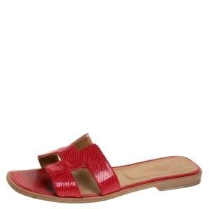 Hermes Red Lizard Oran Slide Flats Size 40