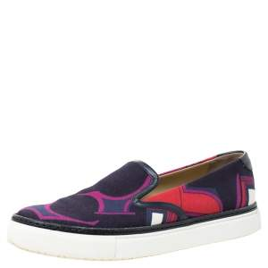 Hermes Multicolor Abstract Print Canvas Slip On Sneakers Size 38