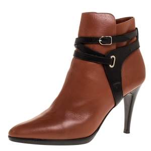 Hermes Brown/Black Leather Cross Strap Pointed Toe Ankle Boots Size 40