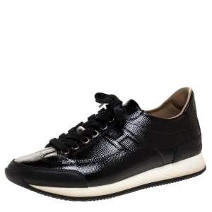 Hermes Black Patent Leather Quick Sneakers Size 37.5