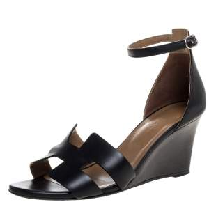 Hermes Black Leather Premiere Ankle Strap Wedge Sandals Size 39